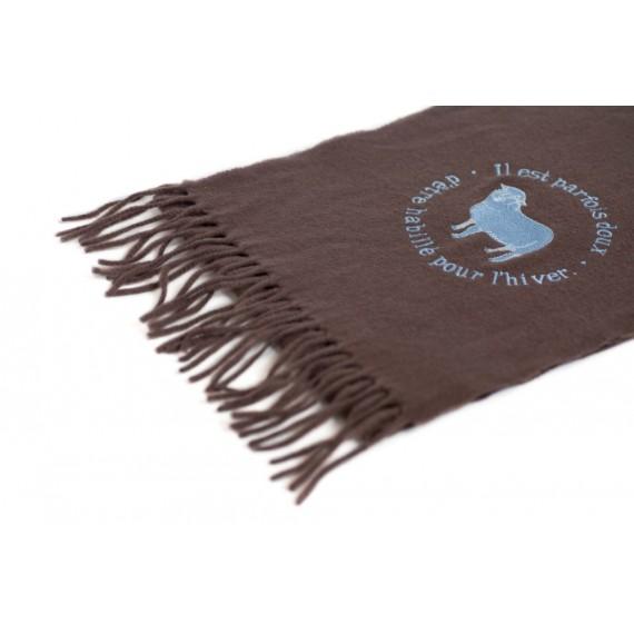 Echarpe laine marron brodée - motif mouton
