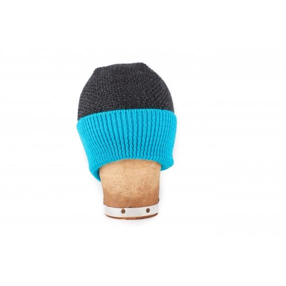 Bonnet marin à large revers contrasté - anthracite et turquoise