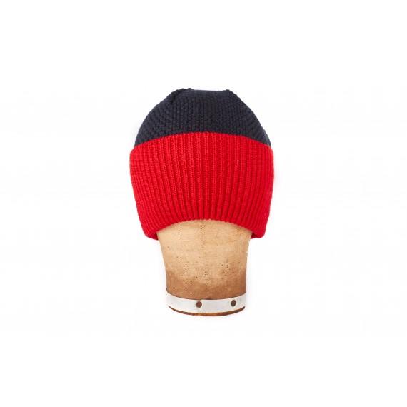 Bonnet marin à large revers contrasté - bleu nuit et rouge
