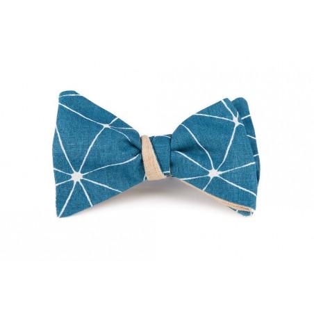 noeud papillon vert canard motif origami r versible en lin cr me. Black Bedroom Furniture Sets. Home Design Ideas