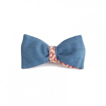 Le Flageolet noeud papillon géométrique ronds carres écru rose réversible ramie bleu Prusse