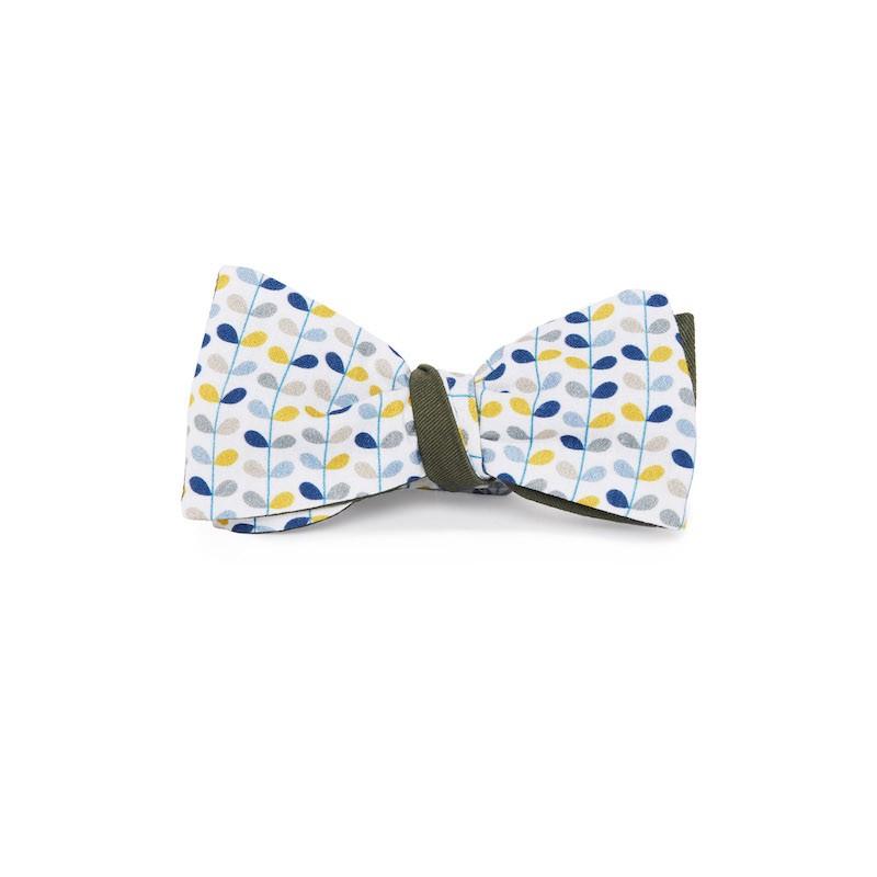 Le Flageolet noeud papillon fleuri Seventies jaune réversible gabardine kaki