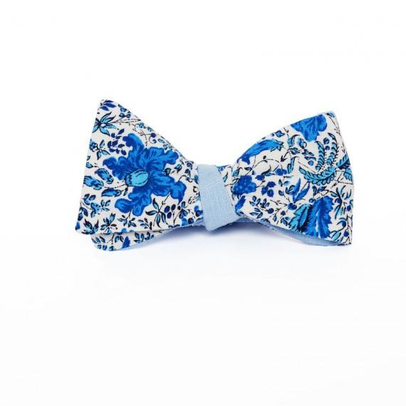 Le Flageolet noeud papillon fleuri victoire bleu réversible ramie bleu ciel