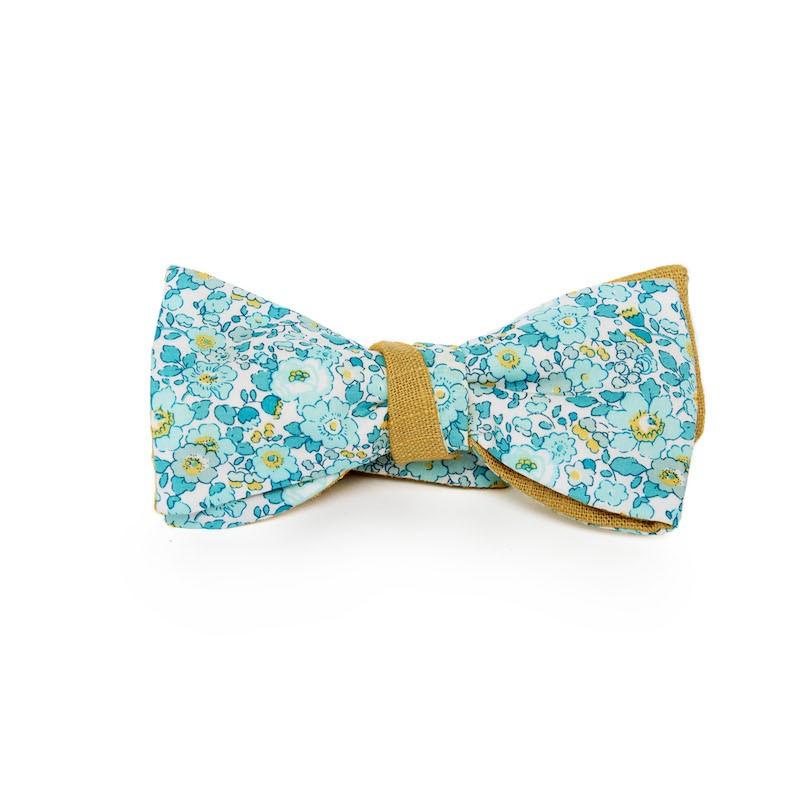 prix compétitif choisissez le dégagement site autorisé Noeud papillon vert menthe motif liberty Betsy Ann avec un revers en ramie  moutarde