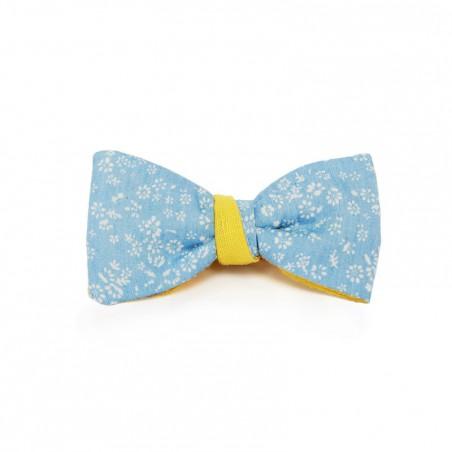 Le Flageolet noeud papillon chambray bleu ciel fleurs blanches réversible ramie jaune