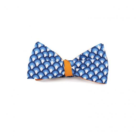 Le Flageolet noeud papillon éventails vintage bleu réversible uni safran