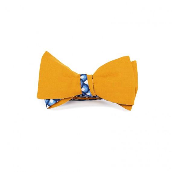 Le Flageolet noeud papillon uni safran réversible éventails vintage bleu