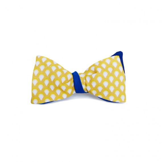 Le Flageolet noeud papillon éventails vintage jaune réversible satin coton bleu roi