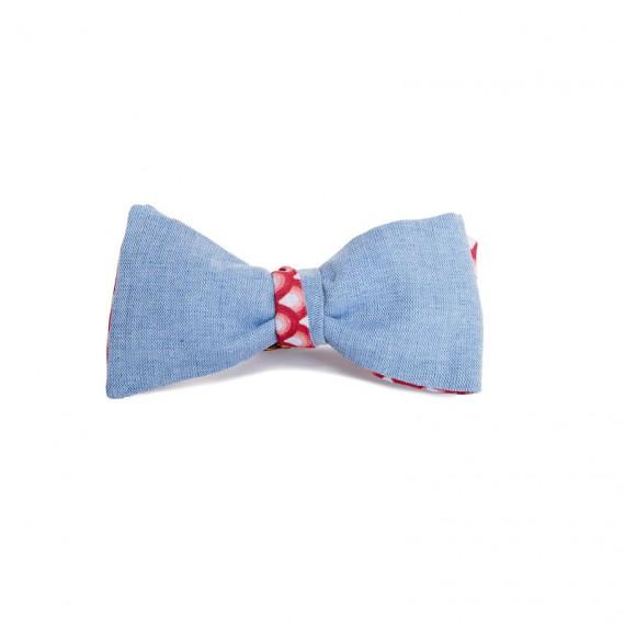 Le Flageolet noeud papillon Chambray bleu ciel réversible éventails vintage rouge