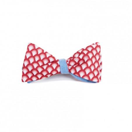 Le Flageolet noeud papillon éventails vintage rouge réversible Chambray bleu ciel
