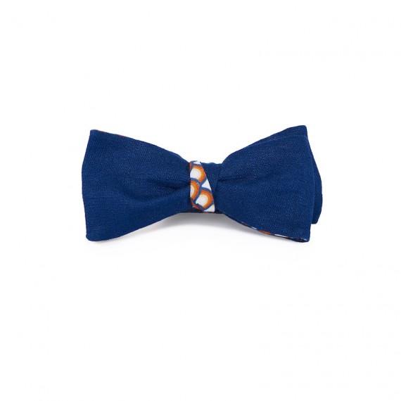 Le Flageolet   noeud papillon ramie bleu nuit réversible éventails vintage multicolore