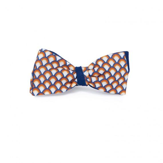 Le Flageolet   noeud papillon éventails vintage multicolore réversible ramie bleu nuit