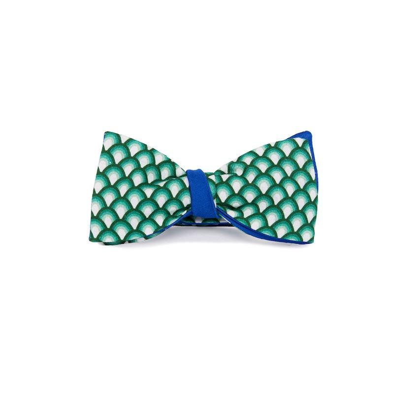 Le Flageolet noeud papillon éventails vintage vert réversible satin coton bleu roi