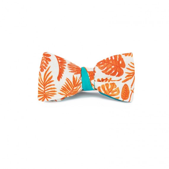 Le Flageolet noeud papillon palm orange réversible satin coton menthe