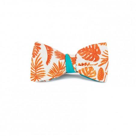 Le Flageolet noeud papillon palm orange réversible satin coton menthe