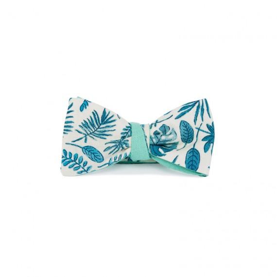 Le Flageolet noeud papillon palm bleu réversible ramie vert menthe