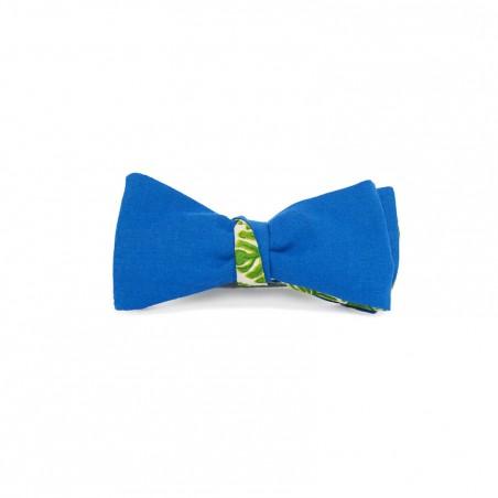 Le Flageolet noeud papillon coton bleu azur réversible palm vert