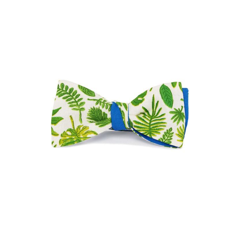 Le Flageolet noeud papillon palm vert réversible coton bleu azur