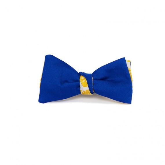 Le Flageolet noeud papillon satin coton bleu roi réversible palm jaune