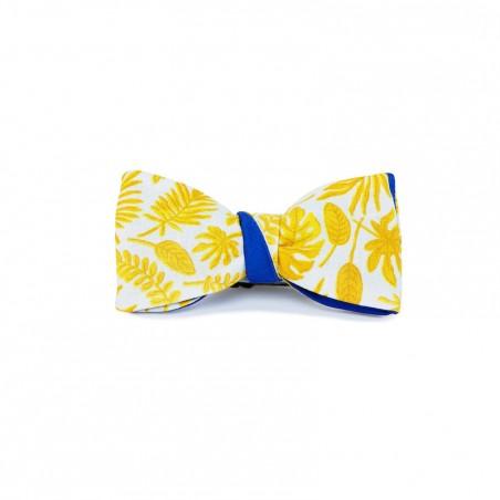 Le Flageolet noeud papillon palm jaune réversible satin coton bleu roi