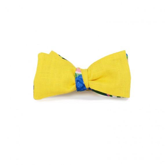 Le Flageolet noeud papillon ramie jaune bouton or réversible mowgli bleu