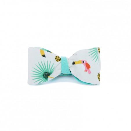 Le Flageolet noeud papillon toucan menthe réversible ramie menthe