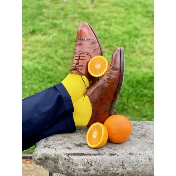 Le Flageolet chaussette unie jaune