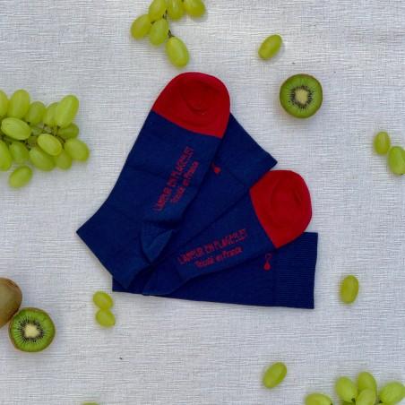 Le Flageolet chaussette unie bleu marine coton