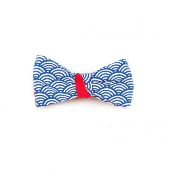 Noeud papillon motifs seigahia bleu & rouge