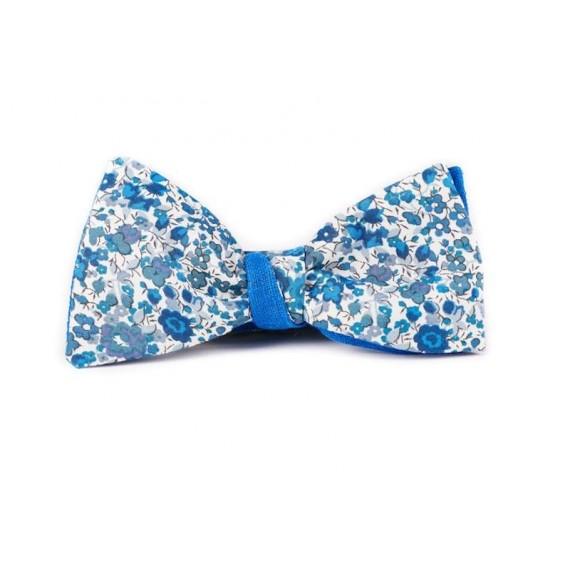 Noeud papillon bleu Le Flageolet liberty Emma et Georgina bleu revers lin bleu roi pour mariage