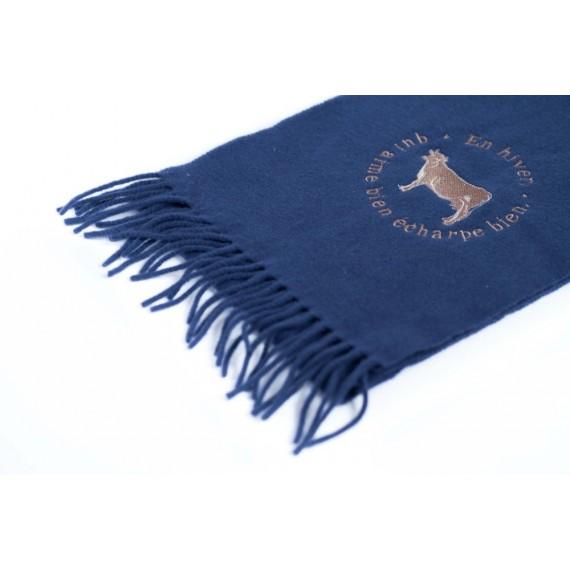 Echarpe laine bleue brodée motif vache