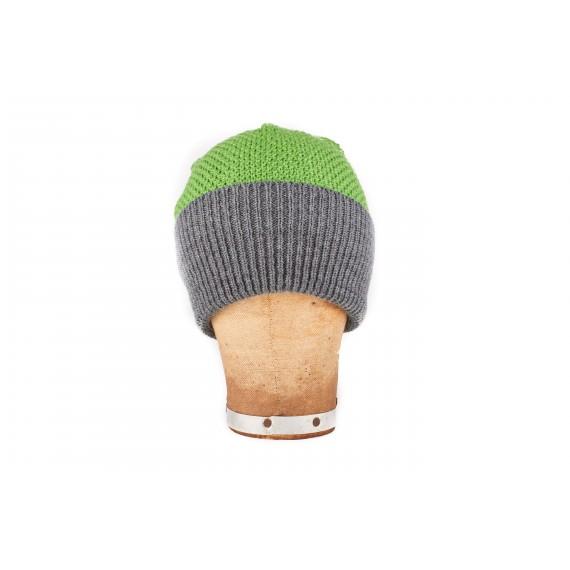 Bonnet marin à large revers contrasté - vert et gris
