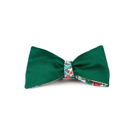 Le Flageolet noeud papillon satin coton vert réversible liberty emma georgina vert